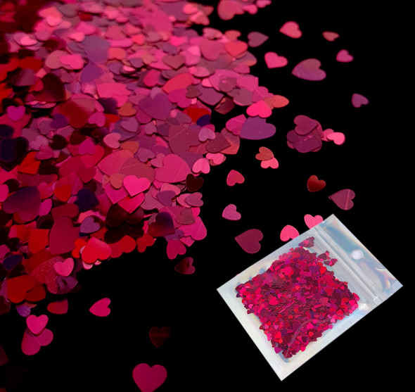 TNS Solid Pink Heart Glitter Mix for Nail Art - 10ml Bag (Valentines Day)