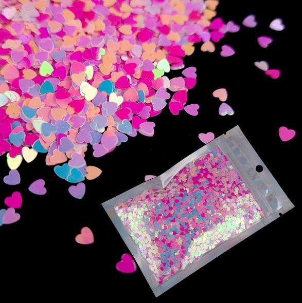 TNS Mixed Pink Heart Glitter Mix for Nail Art 3mm - 1oz Bag (Be My Valentine!)