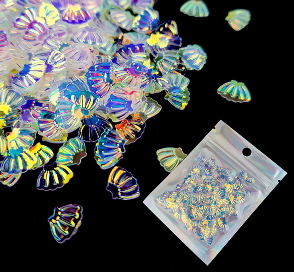 TNS Iridescent White Shell Glitter for Nail Art - 10ml Bag (Great for Mermaid Water Themes)