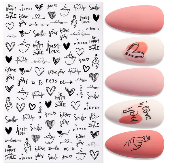 Be Happy & Smile/I Love You Nail Stickers (Hearts Galore)