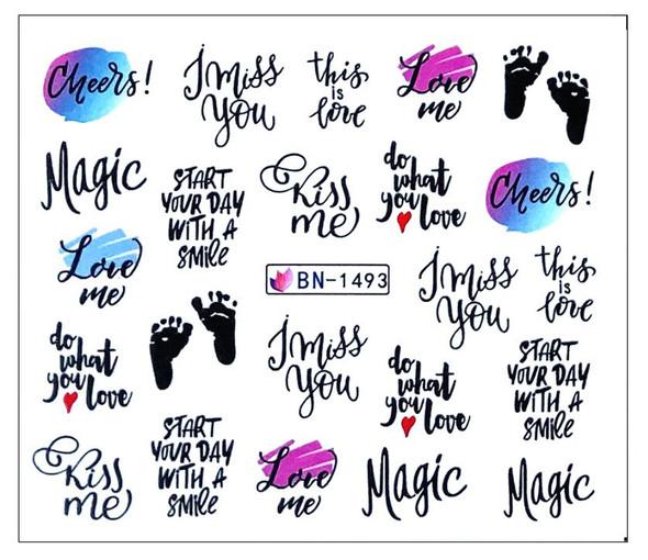 Magic Kiss Me / Footprints Water Nail Decals (BN-1493)