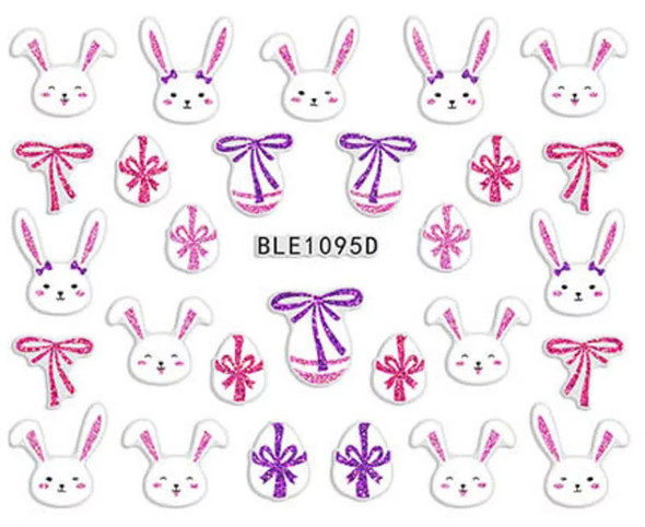Cute Colourful Easter Nail Stickers (Peel & Stick) - Pink & White Rabbits, Eggs & Bows