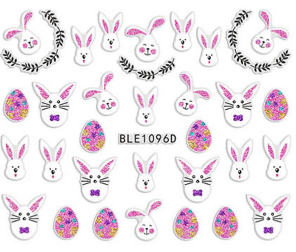 Cute Colourful Easter Nail Stickers (Peel & Stick) - Pink & White Rabbits, Pink Eggs & Wreaths