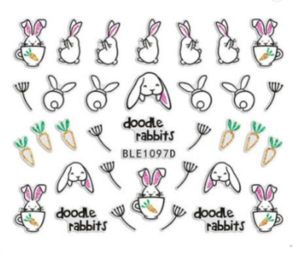 Cute Colourful Easter Nail Stickers (Peel & Stick) - Doodle Rabbits, Teacup Rabbits, Carrots, & Dandelions