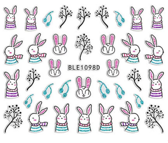 Cute Colourful Easter Nail Stickers (Peel & Stick) - Rabbits in Stripes & Scarves