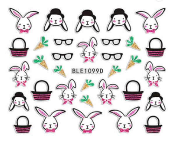 Cute Colourful Easter Nail Stickers (Peel & Stick) - Rabbits in Top Hats, Glasses & Baskets