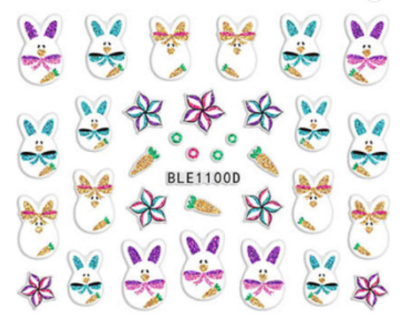Cute Colourful Easter Nail Stickers (Peel & Stick) - Egg Bunnies in Bows