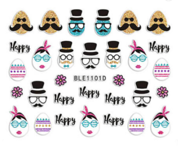 Cute Colourful Easter Nail Stickers (Peel & Stick) - Hipster Eggs, Eggs in Top Hats & Moustaches
