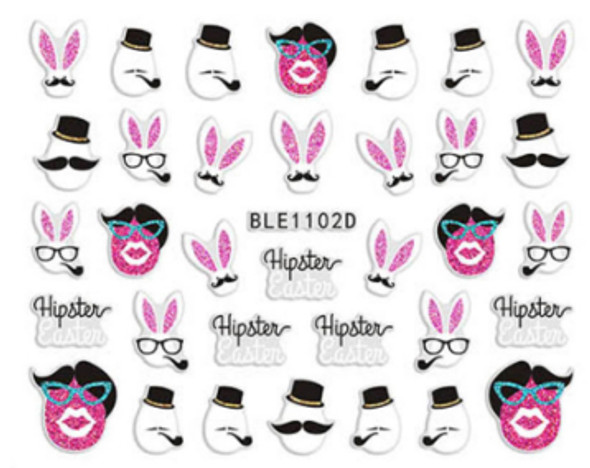Cute Colourful Easter Nail Stickers (Peel & Stick) - Hipster Easter Eggs, Top Hats, Moustaches, Glasses, Glam Eggs