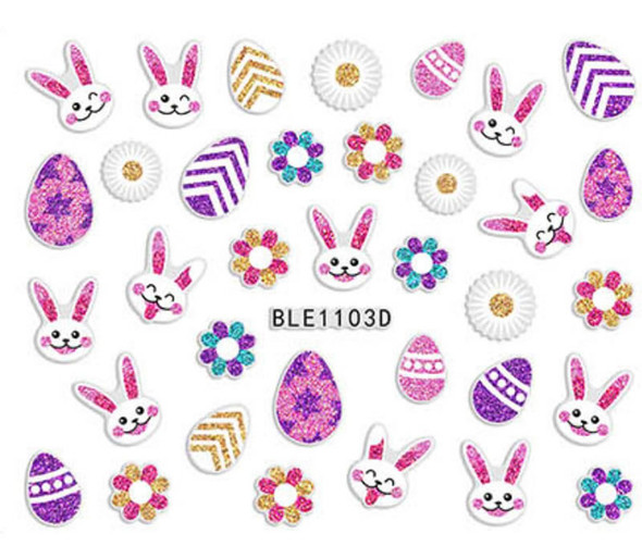 Cute Colourful Easter Nail Stickers (Peel & Stick) - Glitter Flowers, Happy Bunnies & Patterned Eggs