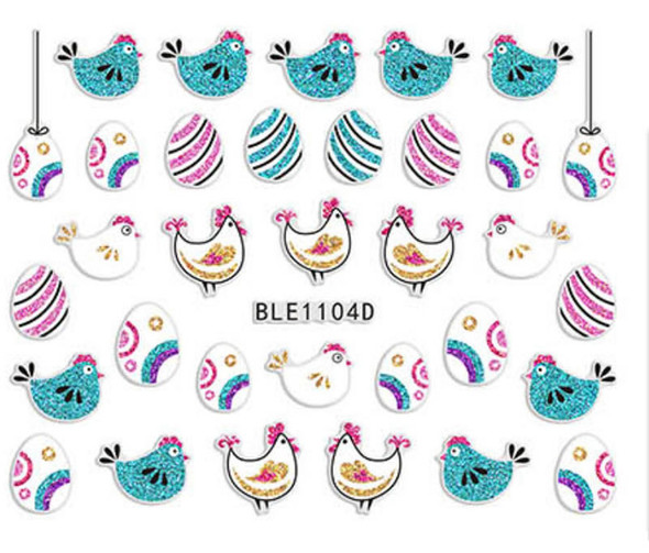 Cute Colourful Easter Nail Stickers (Peel & Stick) - Teal & White Chickens, Striped & Patterned Eggs