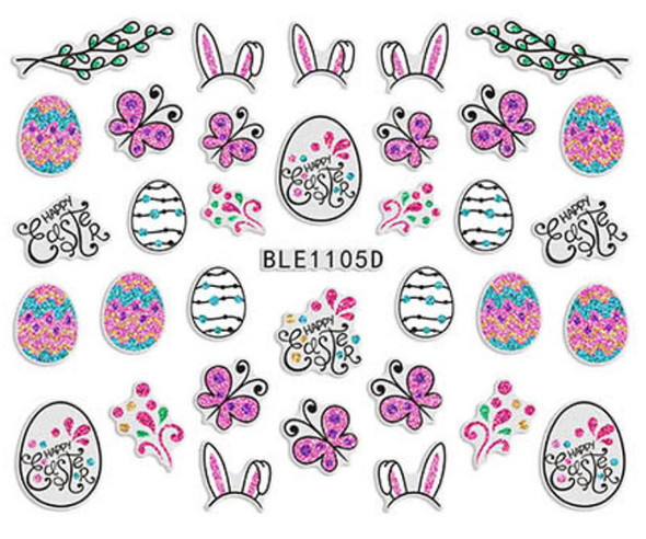 Cute Colourful Easter Nail Stickers (Peel & Stick) - Bunny Ears, Happy Easter Eggs, Butterflies & More!