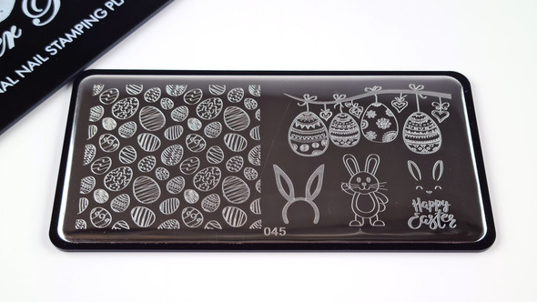 Pamper Plates Professional Nail Stamping Plates - Design #45 (Easter Eggs, Bunny Ears, Happy Easter Text)
