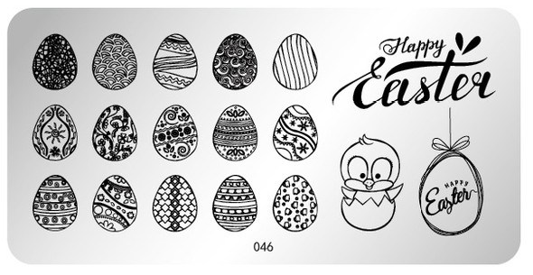 Pamper Plates Professional Nail Stamping Plates - Design #46 (Easter Eggs, Baby Chicken, Happy Easter)