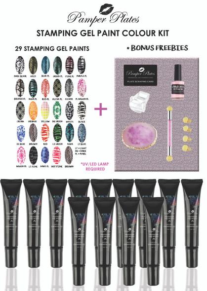 29PCS X Pamper Plates Professional Stamping UV/LED Gel Paint Kit + $30 FREEBIES