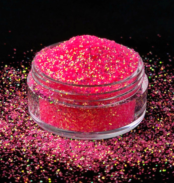 TNS HOUSE BUNNY Iridescent Pink Glitter for Nail Art - Example of Chunky in a 10ml Pot