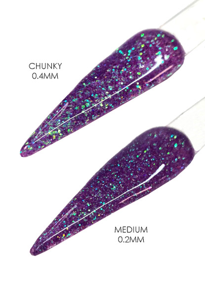 TNS PEACOCK PARTY Iridescent Purple Glitter for Nail Art (15gm Bag)  - Size Medium or Chunky