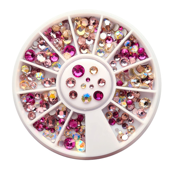 Pink & Champagne Mix Flatback Round Rhinestone Crystal Nail Art Wheel (240PCS) - 9 Different Sizes (Includes Jonquil & Jonquil AB)