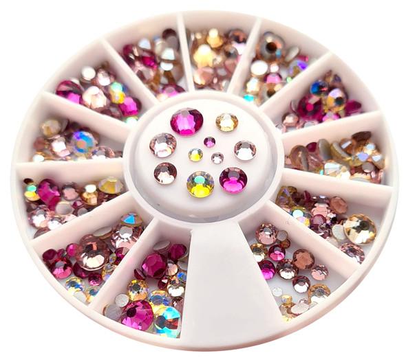 Pink & Champagne Mix Flatback Round Rhinestone Crystal Nail Art Wheel (240PCS) - 9 Different Sizes