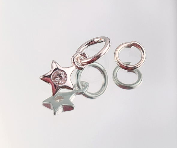 Sterling Silver 925 Single Star Zircon & Crystal Nail Charm + Nail Ring (4mm)