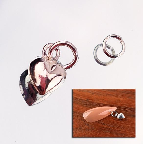 Sterling Silver 925 Single Heart Crystal Nail Charm + Nail Ring (4mm)