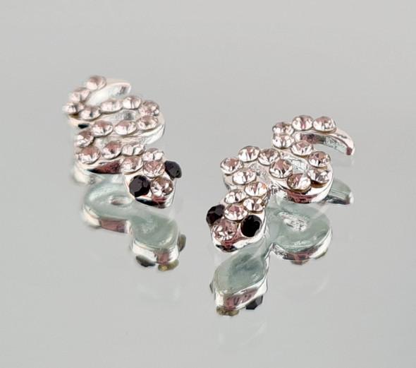2PCS X Silver Crystal Snake Charms for Nail Art