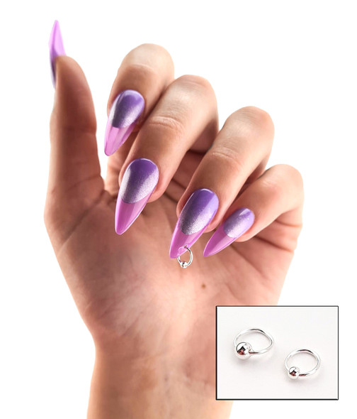 Example of  3mm Silver Fixed Ball Nail Ring