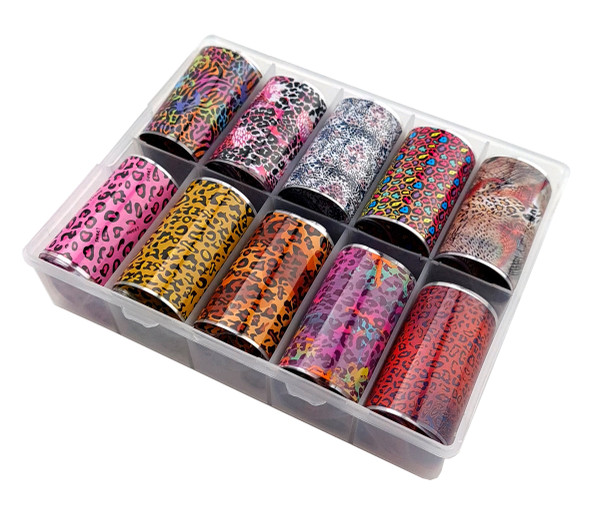 GET WILD Animal Leopard  Stripe Print Nail Art Transfer Foil Set (10 Designs Per Box)