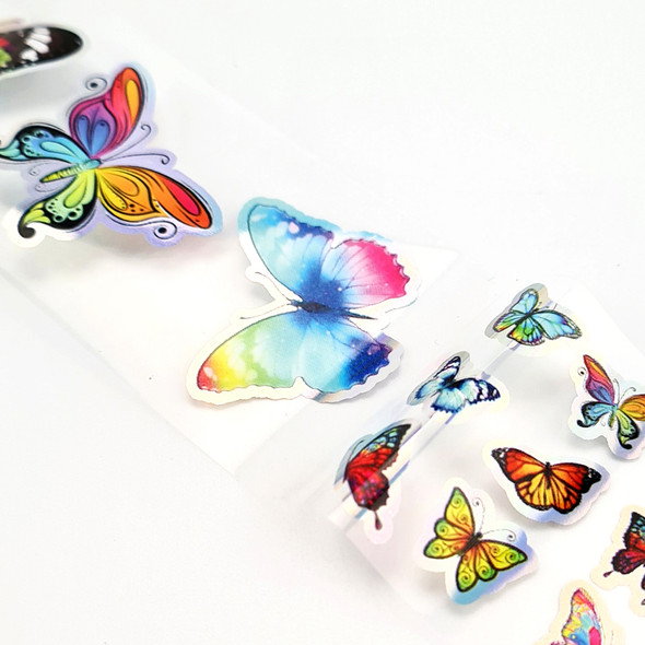 Raindow Butterflies with Holo Silver Edging Nail Art Transfer Foil
