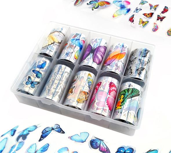 Butterflies with Holo Silver Edging Nail Art Transfer Foil Set (10 Designs Per Box)