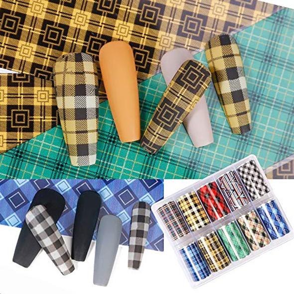 Coloured Tartan Fabric Style Nail Art Transfer Foil Set (10 Designs Per Box)