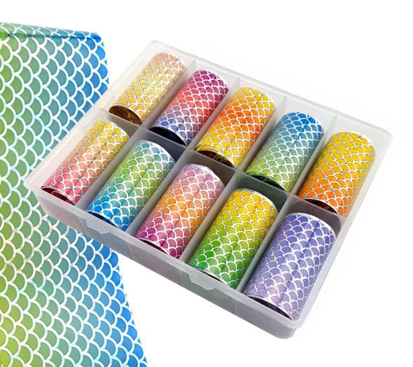 Ombre Mermaid Scales Nail Art Transfer Foil Set (10 Designs Per Box)