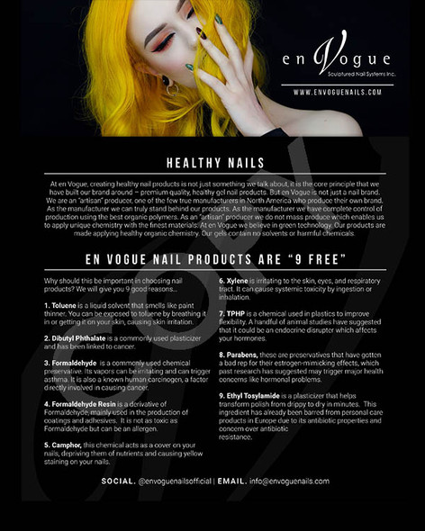 """En Vogue Gel Products Are 9-FREE"" A4 Poster for Salon Wall - Great for Clients to Read! FREE"