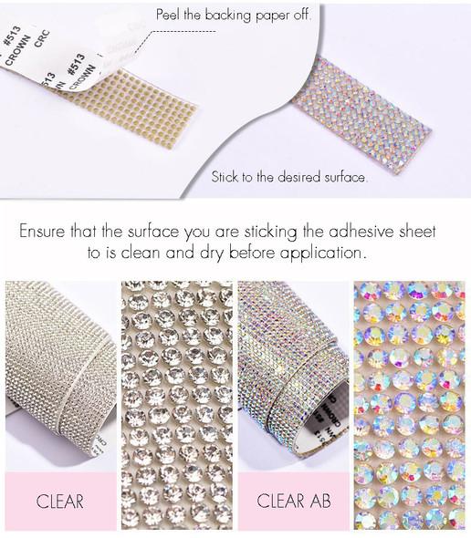 Adhesive Rhinestone Sticker Sheet 40cmX24cm (Clear or Clear AB)