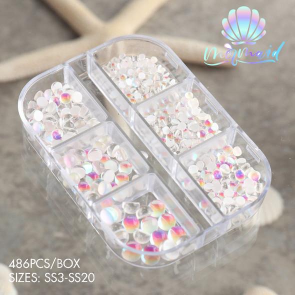 Opal Mermaid Tears Clear Glass Flatback Nail Art Rhinestones (SS3-SS20). Aurora Crystal Beads.