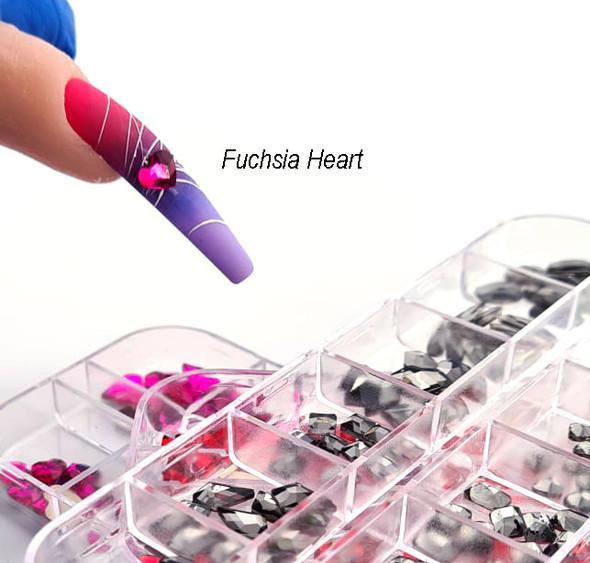 Example of Fuchsia Heart Glass Rhinestones