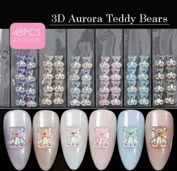 48PCS X 3D Acrylic Resin Aurora AB Teddy Bear Charms for Nail Art (6 Colours)