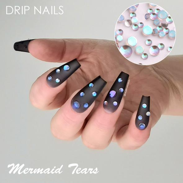 JUMBO BOX 20 Styles of Glass Mermaid Tears & Hearts Rhinestones Flatback + FREE Wax Tool (Water/Drip Nails!)