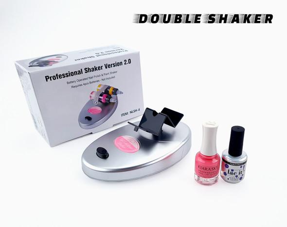 Double Bottle Nail Polish Gel Shaker Mixer (Battery or AU Plug) - Silver
