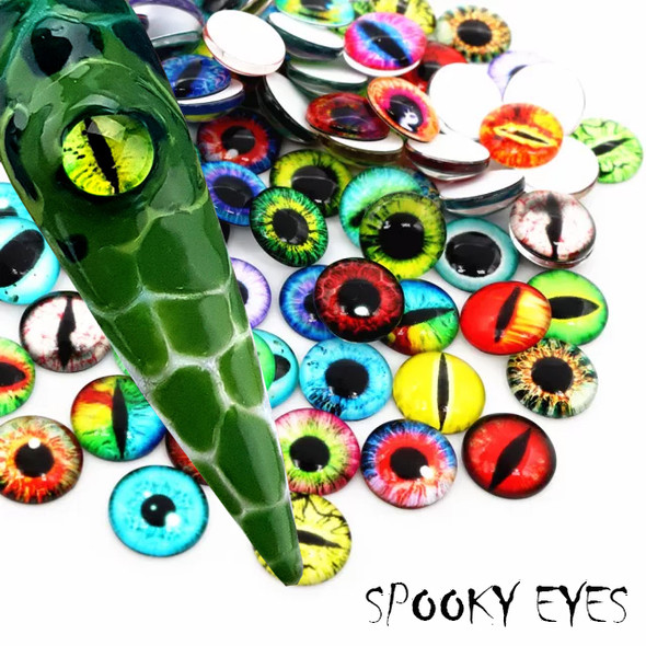 100PCS Dragon Reptile Monster Eyes Cabochons 6mm for Nail Art - Spooky Eyes Great for Halloween!