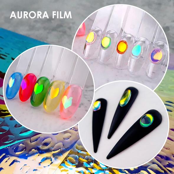 11PCS X Pre-Cut Shapes Aurora Film Sheets for Ice Gel Gem Nails (11 Colours)