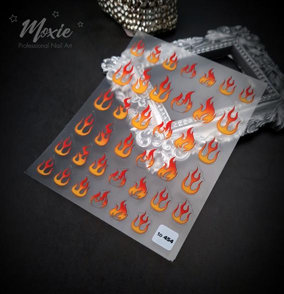 Moxie Ultra Thin Flexible Nail Art Stickers - Orange & Red Flames