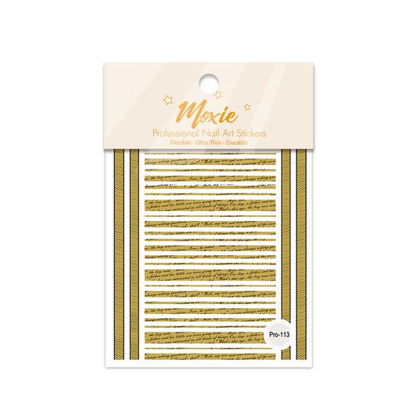 Moxie Ultra Thin Flexible Nail Art Stickers - Black & Gold Notes