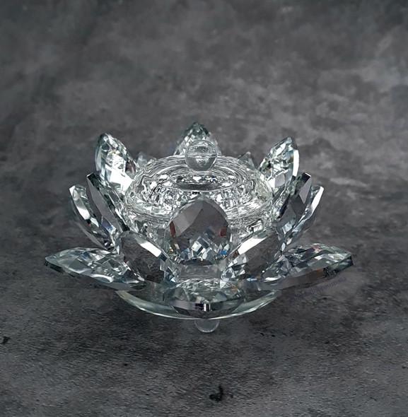 Glass Lotus Dappen Dish with Lid for Acrylic Liquid & Powder (10cm X 6cm)