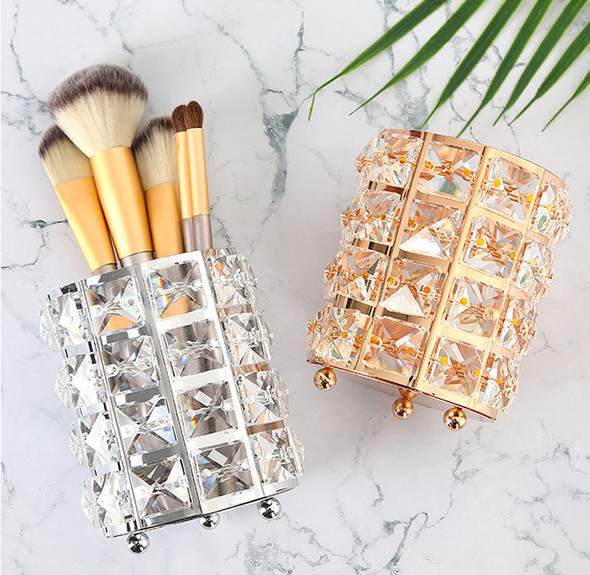 Silver & Gold Round Metal & Crystal Cosmetic Nail File/Brush Holder