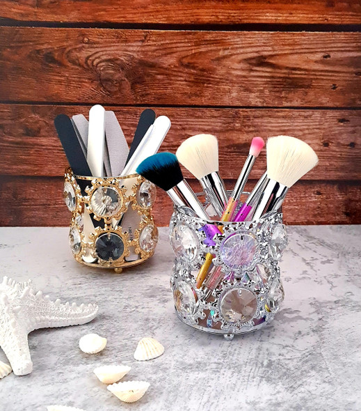 Round Metal & Crystal Cosmetic Nail File/Brush Holder (Available in Gold or Silver)