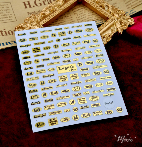 Moxie Ultra Thin Flexible Nail Art Stickers - Black Text on Gold English Art