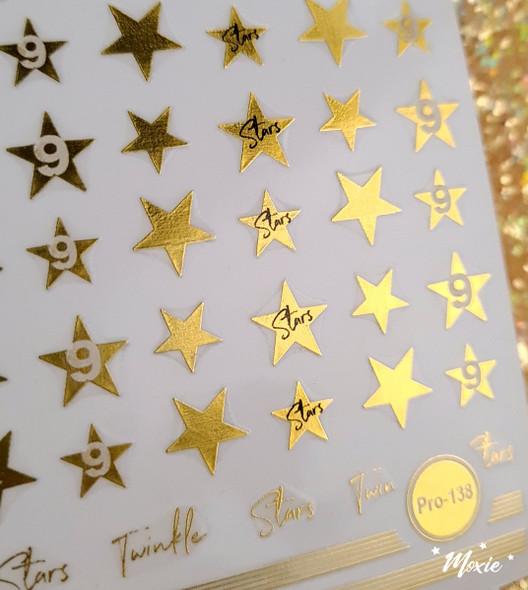 Moxie Ultra Thin Flexible Nail Art Stickers - Gold Twinkle Little Stars