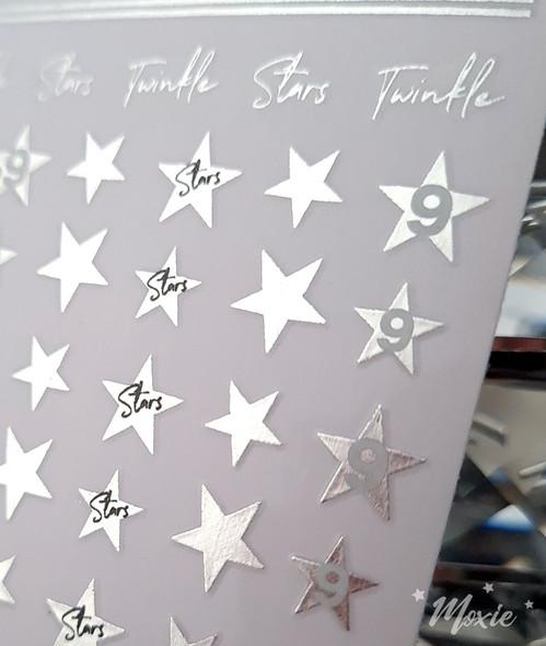 Moxie Ultra Thin Flexible Nail Art Stickers - Silver Twinkle Little Stars