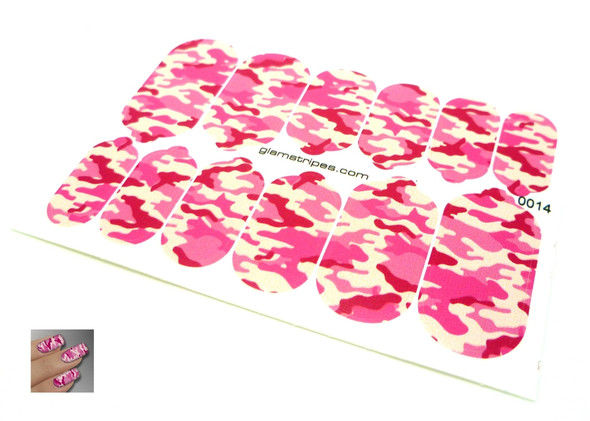 Glamstripes Nail Covers (Full Nail) - Pink Camouflage Design